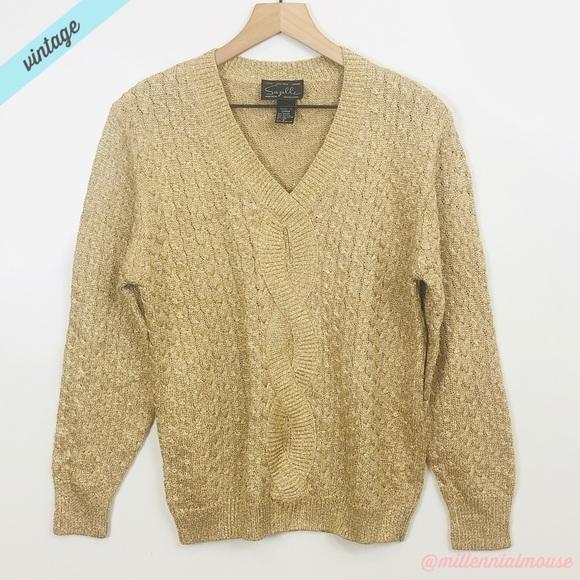 Vintage Sweaters - [Suzelle] VTG Gold V-Neck Cable Knit Sweater